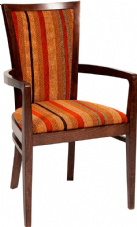 Capital Wooden Side Chair with Upholstered Seat & Back in Dark Walnut & Striped Fabric